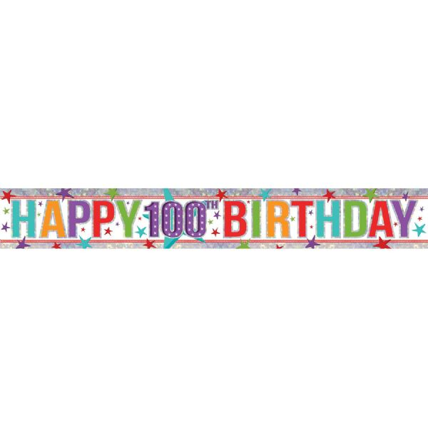 Holographic Multi Colour Happy 100th Birthday Foil Banner